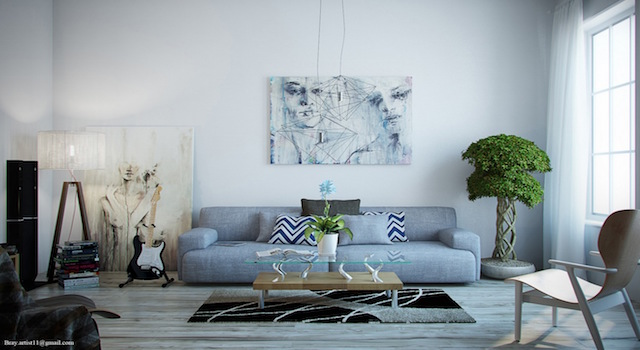 Top 25 contemporary  sofas for a Great Room Top 25 contemporary  sofas for a Great Room Artistic White Contemporary Living Room with Weathered Grey Wood Floor and Blue Grey Sofa
