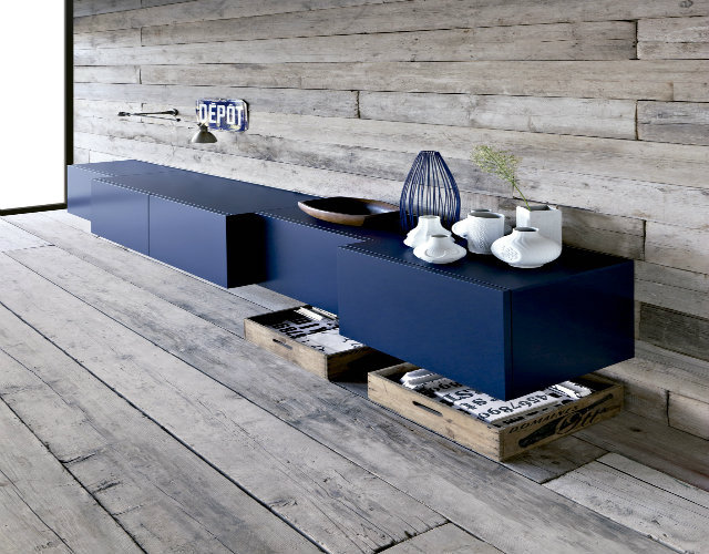 12TOP-50-MODERN-SIDEBOARDS-Floating-modern-navy-cabinet-and-grey-rustic-wood-ship-lap-walls Top 25 mid century modern sideboards for a family room Top 25 mid century modern sideboards for a family room 12TOP 50 MODERN SIDEBOARDS Floating modern navy cabinet and grey rustic wood ship lap walls