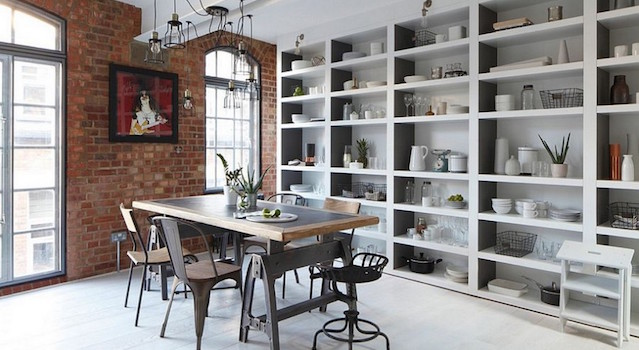 Industrial decor ideas for dining rooms Industrial decor ideas for dining rooms wall shelves filled with modern utensils faced dining table plus ancient chair combine with rustic wall brick 1024x6691