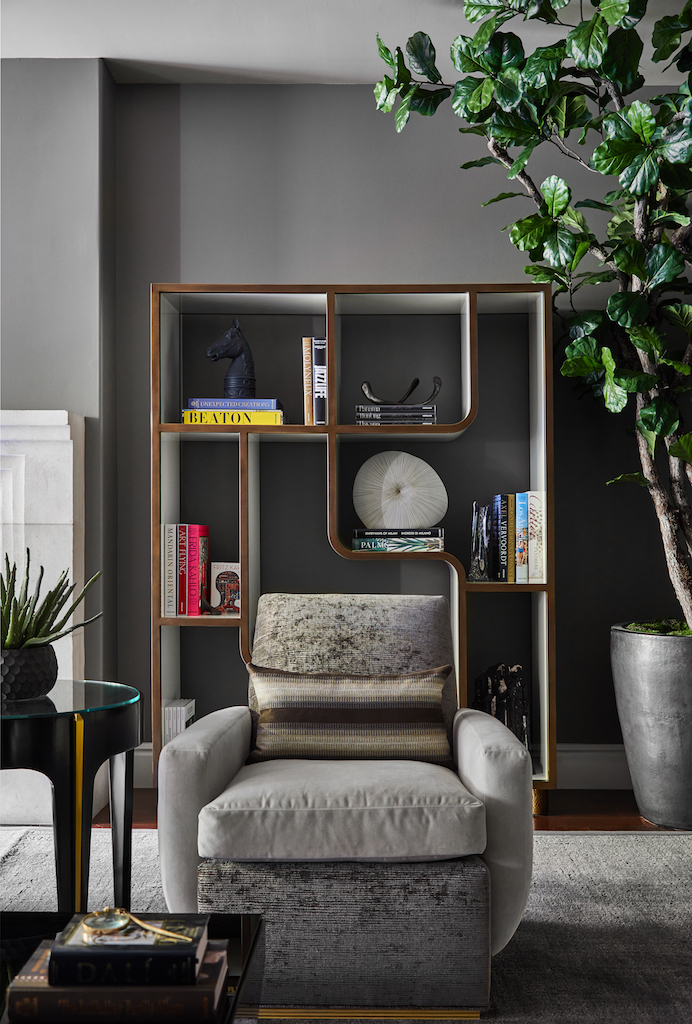 zehana interiors Zehana Interiors Timeless Designs You Can't Miss Oscar AccentChairwithBookcaseVignette