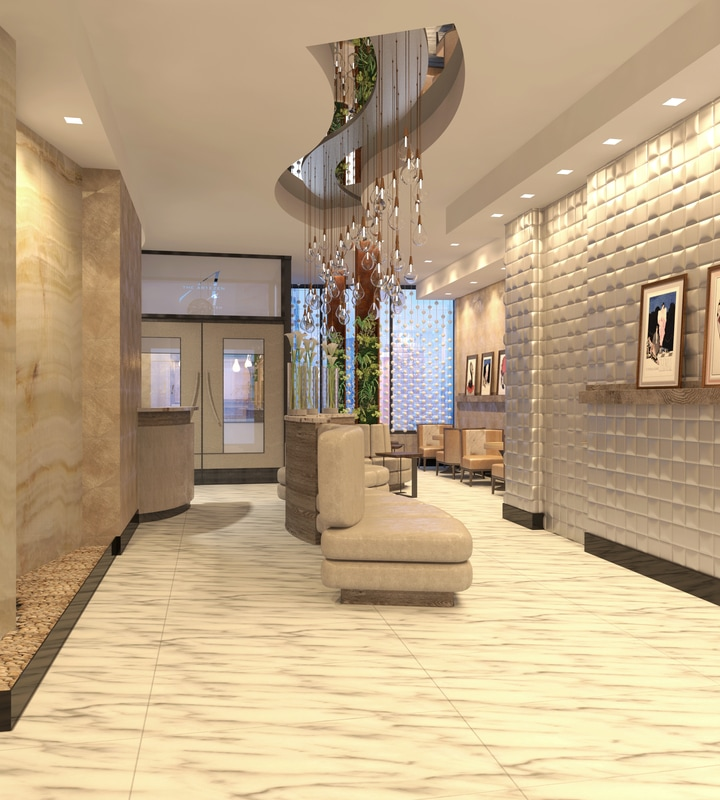 Discover The Inspirational Projects From DiGuiseppe Architects  diguiseppe architect Discover The Inspirational Projects From DiGuiseppe Architect lobby entry door view render orig